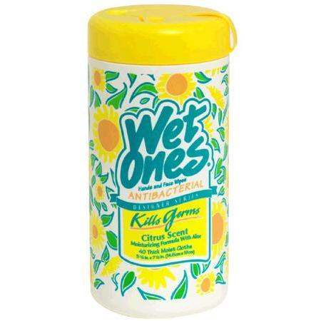Wet Ones Antibacterial Hand and Face Wipes, Designer Series Citrus, 40 ea
