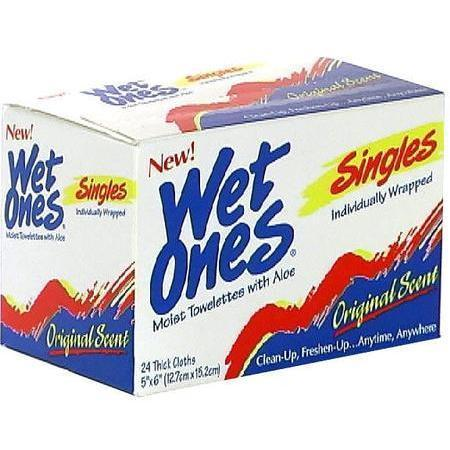 Wet Ones Moist Towelettes, with Aloe, 24 ea