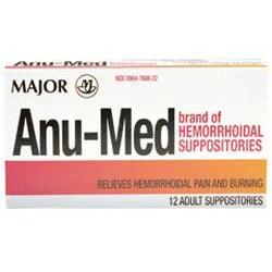 Major Pharm Anu-Med Hemorrhoidal Adult Suppositories,  New Form, 12 ea