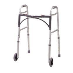 Drive Medical Design Deluxe Folding Walker Two Button with 5 wheels, 1 ea