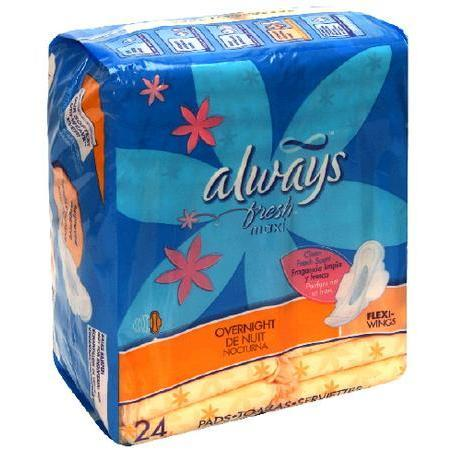 Always Fresh Maxi Overnight Wing, 6 Units 24 pad - PlanetRx