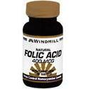 Windmill Health Products Folic Acid, 400 mcg- 180 tab