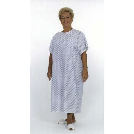 Standard Patient Gowns,  Blue Print on White, 1 ea