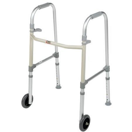 Dual Paddle Folding Walker,  With 5 Fixed Wheels And Glides, 1 ea