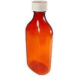 Owens Plastic Amber Child Resistant Oval Bottle, 50 Units 8 oz