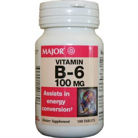 Major Pharm Vitamin B-6,  100 mg- 100 tab