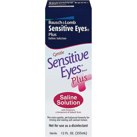 Bausch & Lomb Sensitive Eyes Plus Saline Solution For Contact Lenses, 12 oz