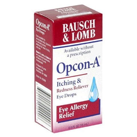 Bausch & Lomb Opcon-A Itching & Redness Allergy Relief Eye Drops, 15 ml
