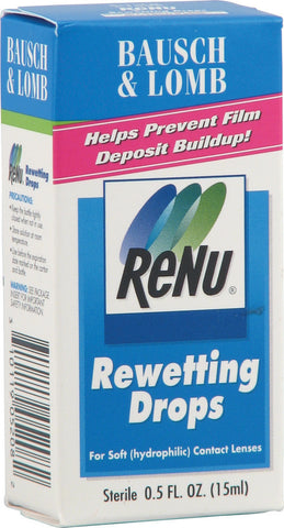 Bausch & Lomb Renu Contact lens Rewetting Drops, 0.5 oz