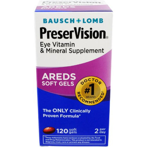 Bausch & Lomb PreserVision Eye Vitamin And Mineral Supplements Softgels, 120 soft gels