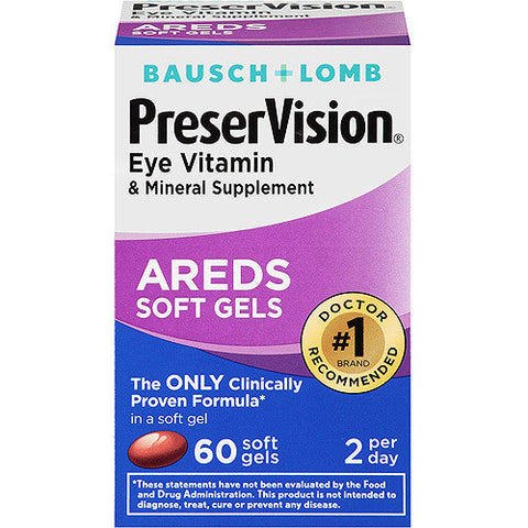 Bausch & Lomb PreserVision Eye Vitamin And Mineral Supplements Softgels, 60 soft gels