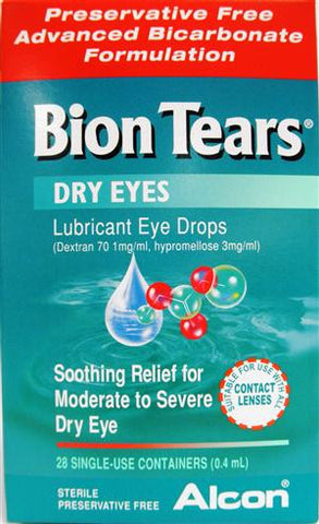 Bion Tears Lubricant Eye Drops Single-Use Vials, UOU, 28 Units 0.45 ml