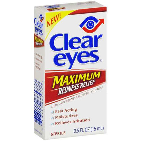 Clear Eyes Maximum Lubricant Eye Drops,  Redness Relief, 0.05 oz