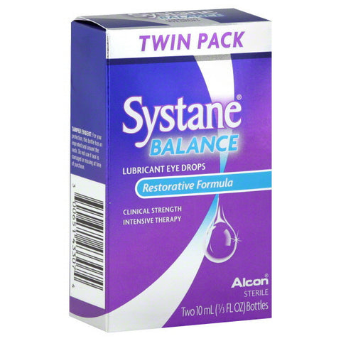 Systane Balance Lubricant Eye Drops, Restorative Formula, 2 Units 10 ml
