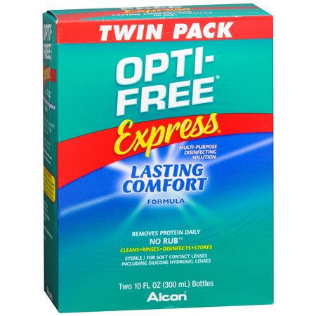 Opti-Free Express Lasting Comfort No Rub Multi-Purpose Disinfecting Solution, 2 Units 10 oz