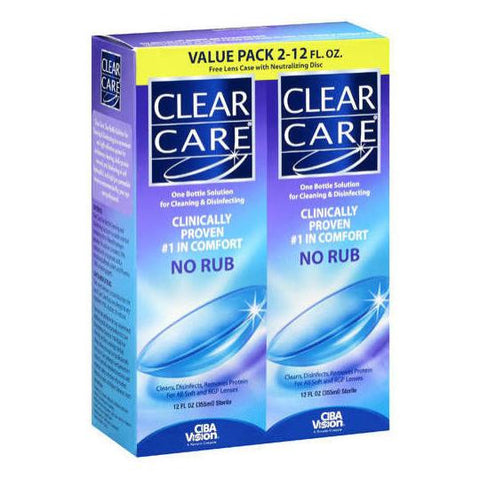 Clear Care No Rub Cleaning & Disinfecting Solution   2 Units 12 oz