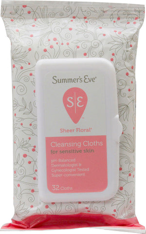 Summer's Eve Feminine Cleansing Cloths  Sheer Floral 32 count