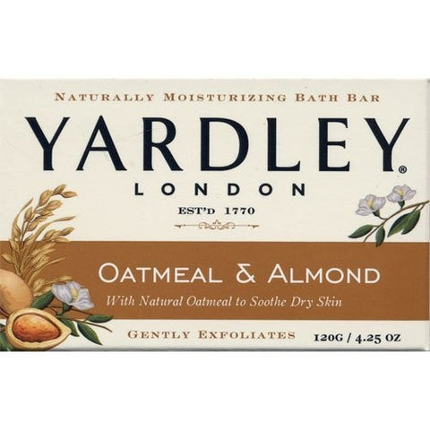 Yardley London Naturally Moisturizing Soap Bar,  Oatmeal & Almond, 4.25 oz