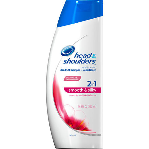Head and Shoulders 2 in 1 Dandruff Shampoo, Smooth & Silky, 14.2 oz