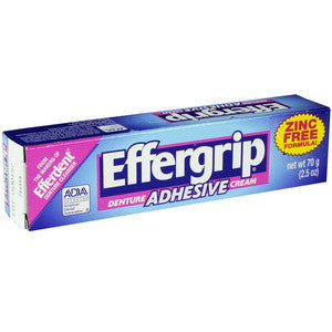 Effergrip Extra Strong Denture Adhesive Cream,  Zinc Free, 2.5 oz