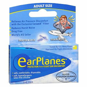 EarPlanes Earplugs Flight Ear Protection 1 Pair, 1PR ADULT, 1 ea