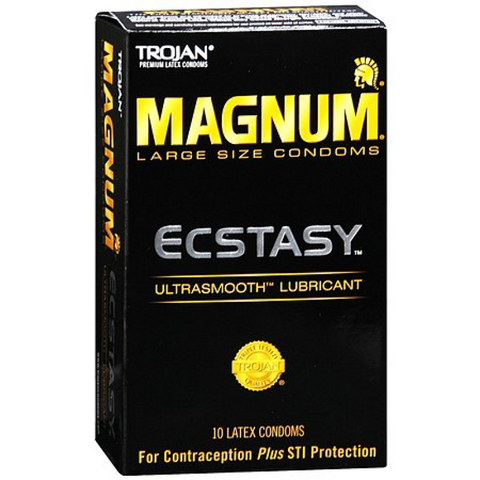 Trojan Magnum Ecstasy Condoms, UltraSmooth Lubricant, 10 pack