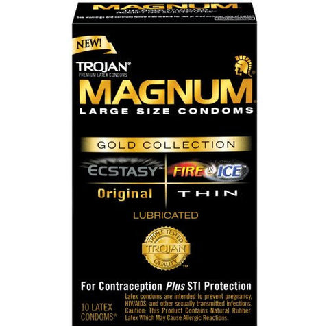 Trojan Magnum Large Size Condoms, Gold Collection, 10 pack
