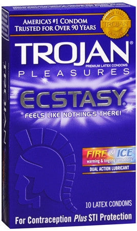 Trojan Pleasures Ecstasy Condoms, Fire & Ice, 10 pack