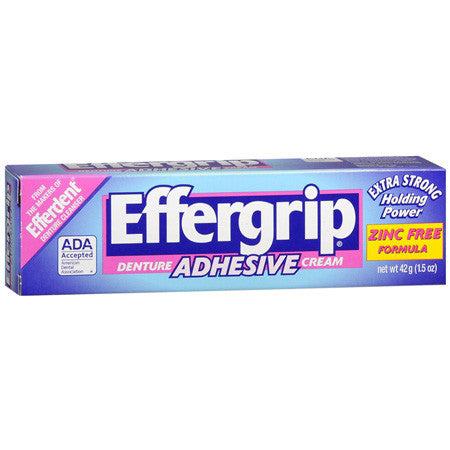 Effergrip Extra Strong Denture Adhesive Cream,  Zinc Free, 1.5 oz