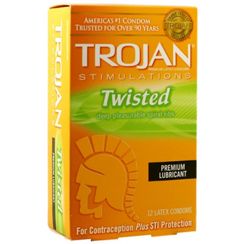 Trojan Stimulations Condoms, Twisted Pleasure, 12 pack