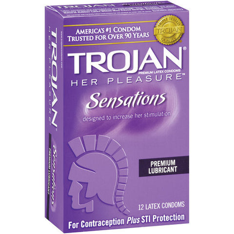 Trojan Her Pleasure Sensations Condoms, 12 pack
