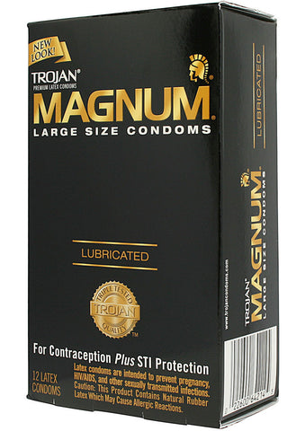 Trojan Magnum Lubricated Condoms, Large Size, 12 pack