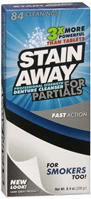 Stain Away, Denture Cleanser For Partials, 8.4 oz