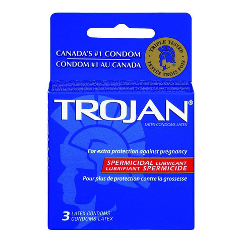 Trojan Premium Latex Condoms, with Spermicidal Lubricant, 3 ea
