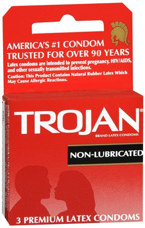 Trojan Premium Latex Condoms, Non-Lubricated, 3 ea