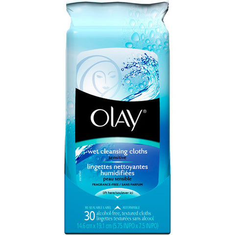 Olay Wet Cleansing Cloths, Sensitive Skin, 30 count