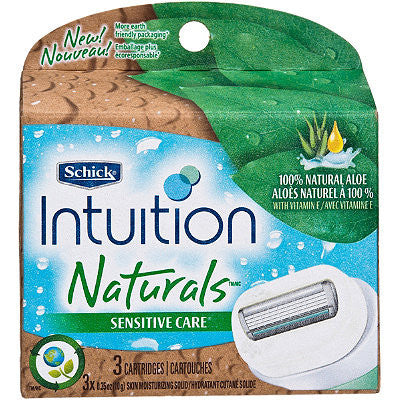 Schick Intuition Naturals Razor Cartridges, Sensitive Care, 3 each