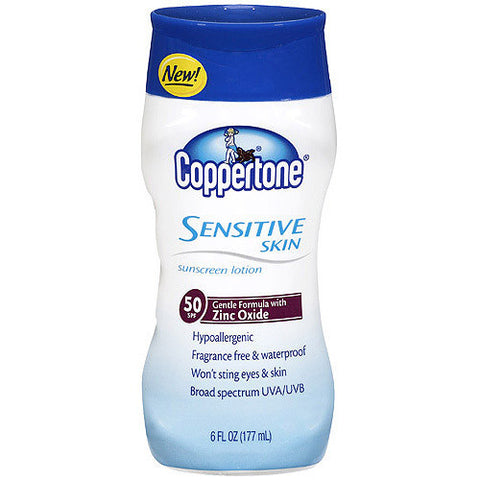 Coppertone Sensitive Skin Suncreen Lotion, SPF 50, 6 oz
