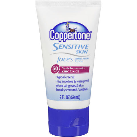 Coppertone Faces Sensitive Skin Suncreen Lotion, SPF 50, 2 oz