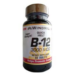Windmill Health Products Quick Melt Vitamin B-12, 3000 MCG, 60 tab