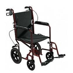 Drive Medical Design Expedition Aluminum Transport Chair with Loop Locks and 12 Rear Flat Free, 1 ea