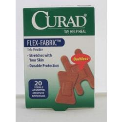 Curad Flex Fabric Bandages, Fingertip Knuckle, 20 ea