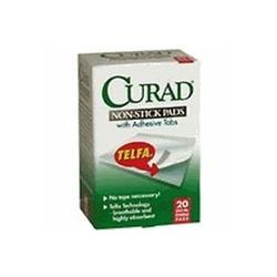 Medline Curad Telfa Non-Stick Pads, 2x3in with Adhesive, 20 count