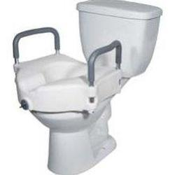 Drive Medical Design 2-in-1 Locking Elevated Toilet Seat, with Tool Free Removable Arms, 1 ea