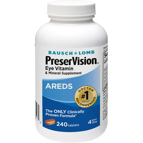 Bausch & Lomb Ocuvite PreserVision Areds Eye Vitamin & Mineral Supplement Tablets, 240 tab