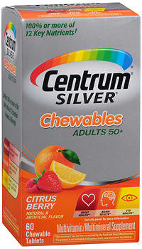 Centrum Silver Adults 50+, Citrus Berry, 60 chewable tablets