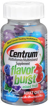 Centrum Flavor Burst Chews, Mixed Fruit, 60 ea