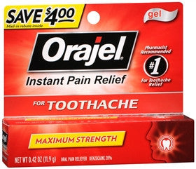 Orajel Instant Pain Relief Gel, Maximum Strength, 0.42 oz