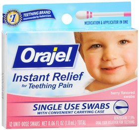 Baby Orajel Oral Pain Relieving Swabs for Teething, Berry, 12 count