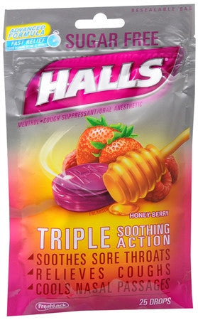 Halls Sugar Free, Honey  Berry, 25 lozenges